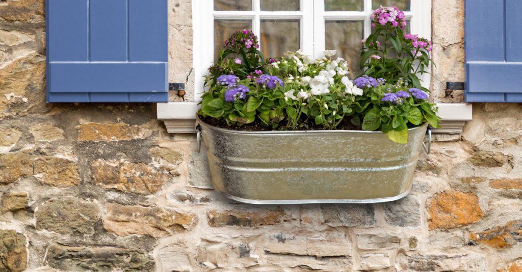 Galvanized Metal Tub Window Box